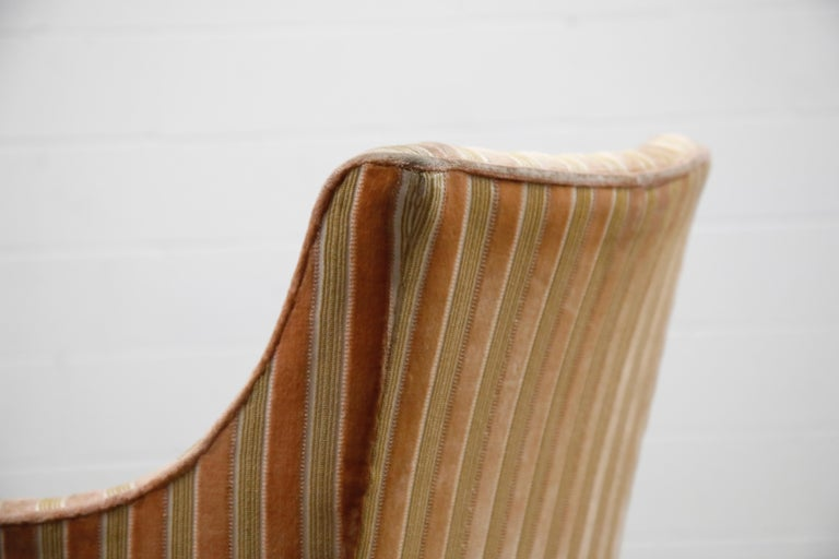 Mid-Century Modern Striped Velvet Fireside Armchair in Olive Green and Pink For Sale 10