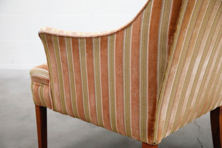 Mid-Century Modern Striped Velvet Fireside Armchair in Olive Green and Pink For Sale 11