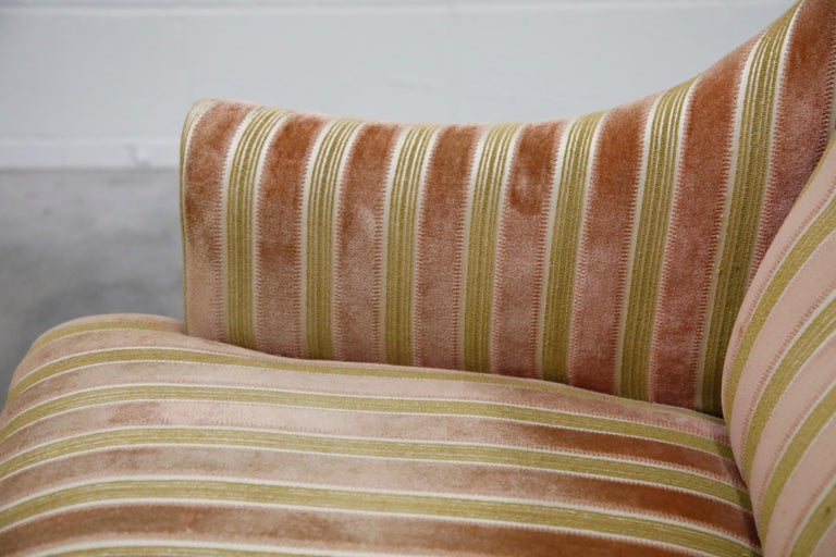 Mid-Century Modern Striped Velvet Fireside Armchair in Olive Green and Pink For Sale 12