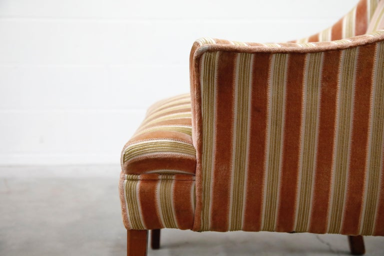 Mid-Century Modern Striped Velvet Fireside Armchair in Olive Green and Pink For Sale 13