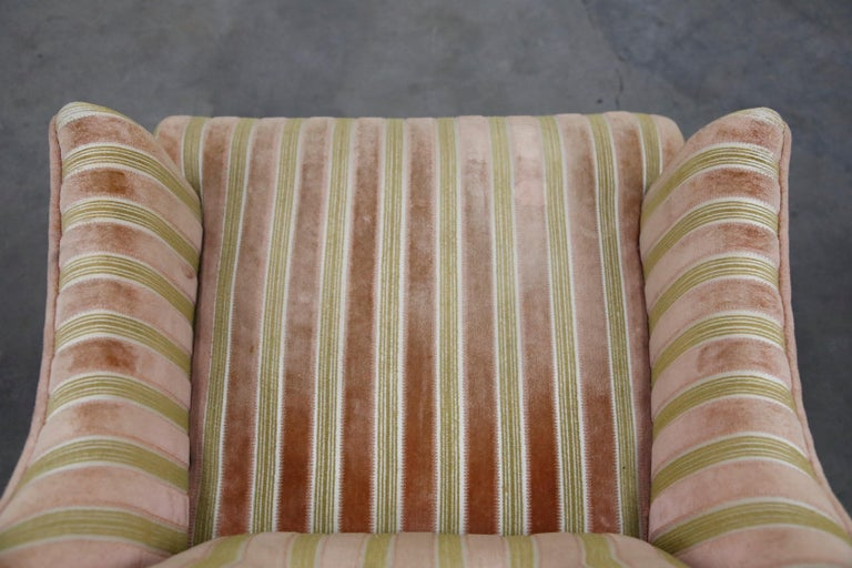 Mid-Century Modern Striped Velvet Fireside Armchair in Olive Green and Pink For Sale 14