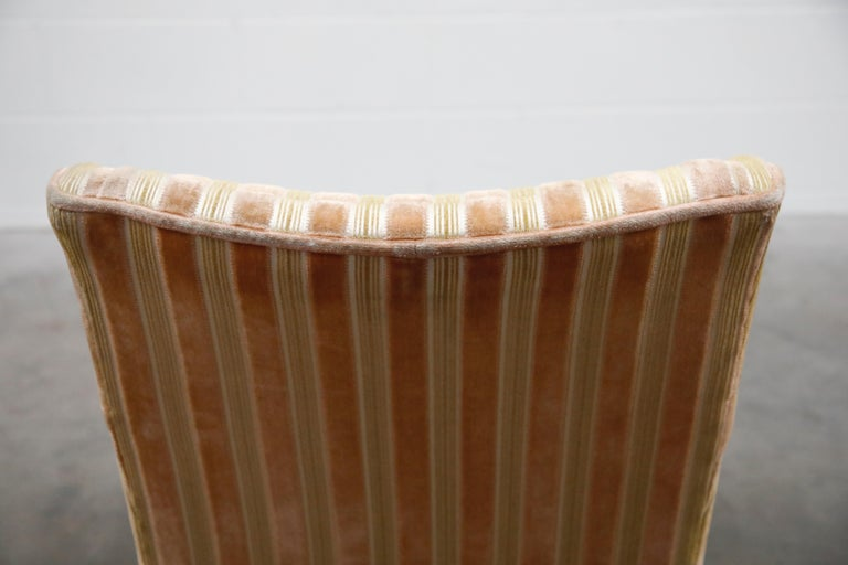 Mid-Century Modern Striped Velvet Fireside Armchair in Olive Green and Pink For Sale 15
