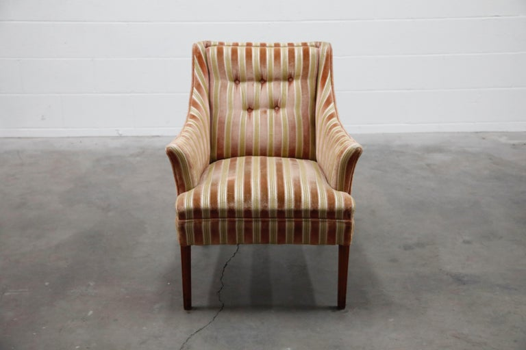 Unknown Mid-Century Modern Striped Velvet Fireside Armchair in Olive Green and Pink For Sale