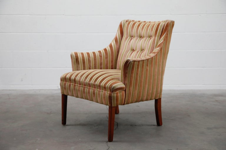 Mid-Century Modern Striped Velvet Fireside Armchair in Olive Green and Pink In Good Condition For Sale In Los Angeles, CA