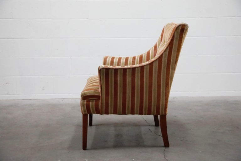 20th Century Mid-Century Modern Striped Velvet Fireside Armchair in Olive Green and Pink For Sale