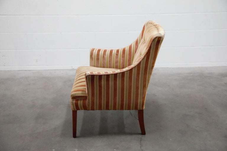Mid-Century Modern Striped Velvet Fireside Armchair in Olive Green and Pink For Sale 1