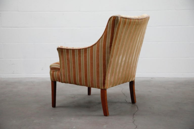 Mid-Century Modern Striped Velvet Fireside Armchair in Olive Green and Pink For Sale 2