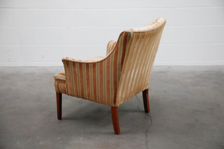 Mid-Century Modern Striped Velvet Fireside Armchair in Olive Green and Pink For Sale 3