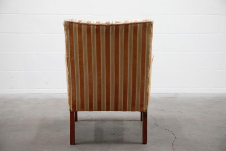 Mid-Century Modern Striped Velvet Fireside Armchair in Olive Green and Pink For Sale 4