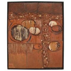 Mid-Century Modern Studio Ceramic Art Framed Tiles Plaque, Signed Morgan '63