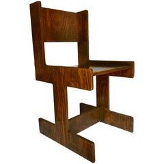 Mid-Century Modern Studio Crafted Cubist Wood Accent Chair