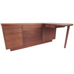Mid-Century Modern Studio Made Executive Desk, Signed