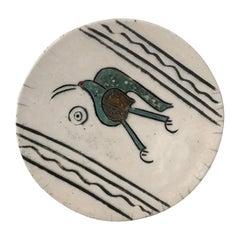 Mid-Century Modern Studio Pottery Ceramic Dish, Dodo Bird, Signed