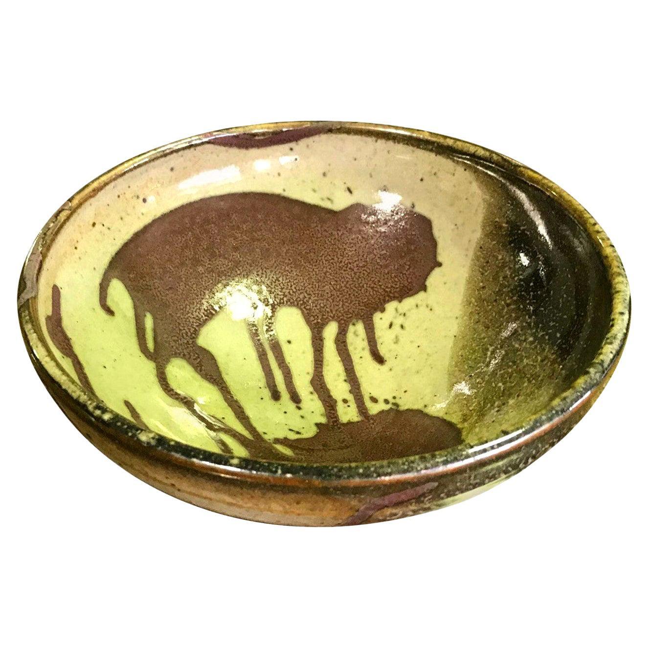 Mid-Century Modern Studio Pottery Ceramic Glazed Artisan Bowl