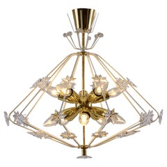 """Mid-Century Modern Style 60ies """"Snowflake"""" Chandelier, Re Edition"""