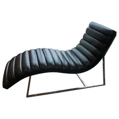 Mid-Century Modern Style Black Leather Channel Chaise Lounge