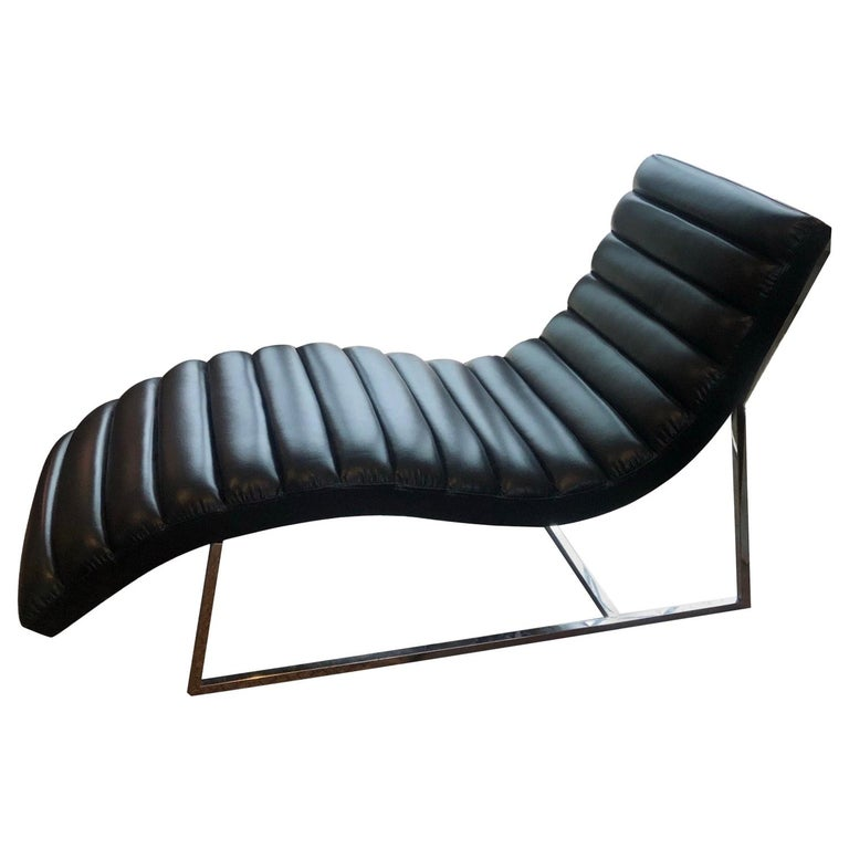Mid-Century Modern Style Black Leather Channel Chaise Lounge For Sale