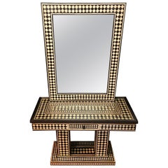 Mid-Century Modern Style Black & White Console Table & Mirror in Diamond Pattern
