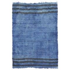 Mid-Century Modern Style Blue Vintage Turkish Rug, Angora Wool