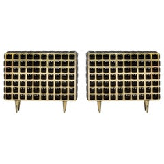 Mid-Century Modern Style Brass and Black Glass Pair of Italian Sideboards