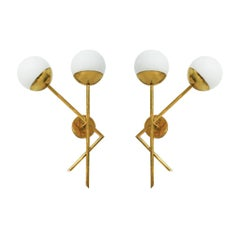 Mid-Century Modern Style Brass and Glass Pair of Italian Sconces