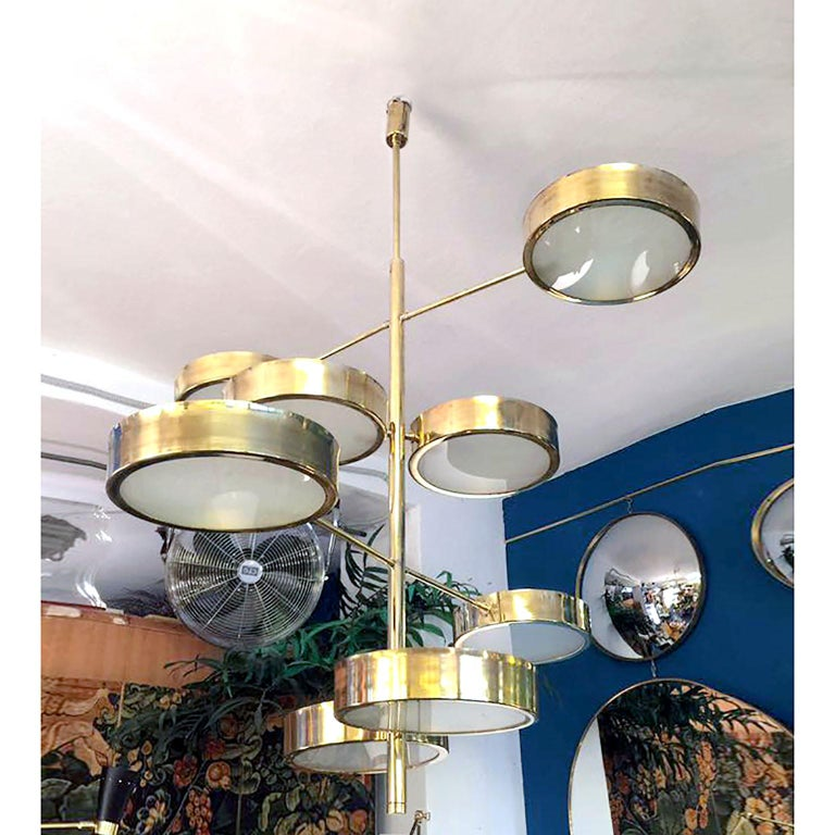 Contemporary Mid-Century Modern Style Brass Italian Chandelier in the Manner of Bruno Gatta For Sale