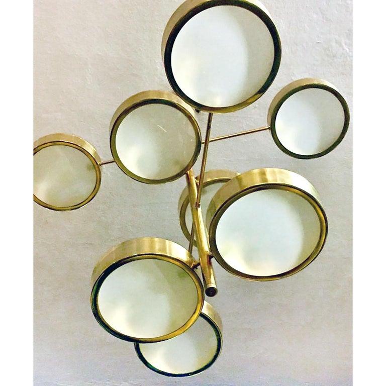 Mid-Century Modern Style Brass Italian Chandelier in the Manner of Bruno Gatta For Sale 2