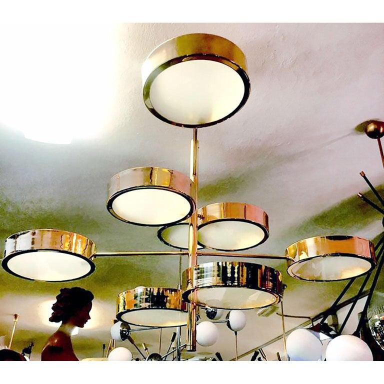 Mid-Century Modern Style Brass Italian Chandelier in the Manner of Bruno Gatta For Sale 3