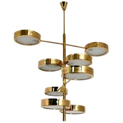 Mid-Century Modern Style Brass Italian Chandelier in the Manner of Bruno Gatta