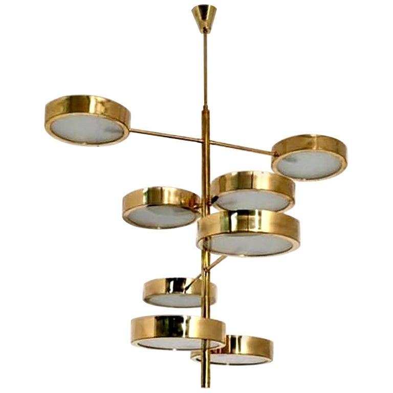 Mid-Century Modern Style Brass Italian Chandelier in the Manner of Bruno Gatta For Sale