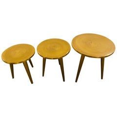 Mid-Century Modern Style Brass Nest of Tables or End Tables, Nest of Three