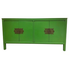 Mid-Century Modern Style Chinoiserie Asian Green Lacquered Console Bar Buffet