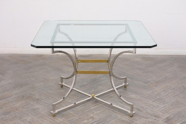 American Mid-Century Modern Style Chrome Dining Table For Sale