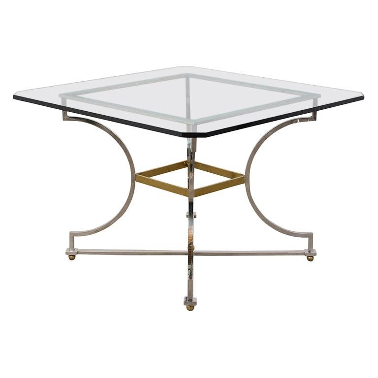 Mid-Century Modern Style Chrome Dining Table For Sale