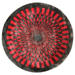 Mid-Century Modern Style Circle Rug in Red Art Deco Pattern by Rug & Kilim