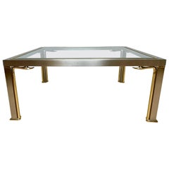 Mid-Century Modern Style Coffee Table with Glass Top and Bronze Swan Sculptures