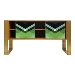 Mid-Century Modern Style Colored Glass and Solid Wood Italian Sideboard