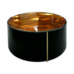 Mid-Century Modern Style Colored Glass Metal and Brass Italian Coffee Table