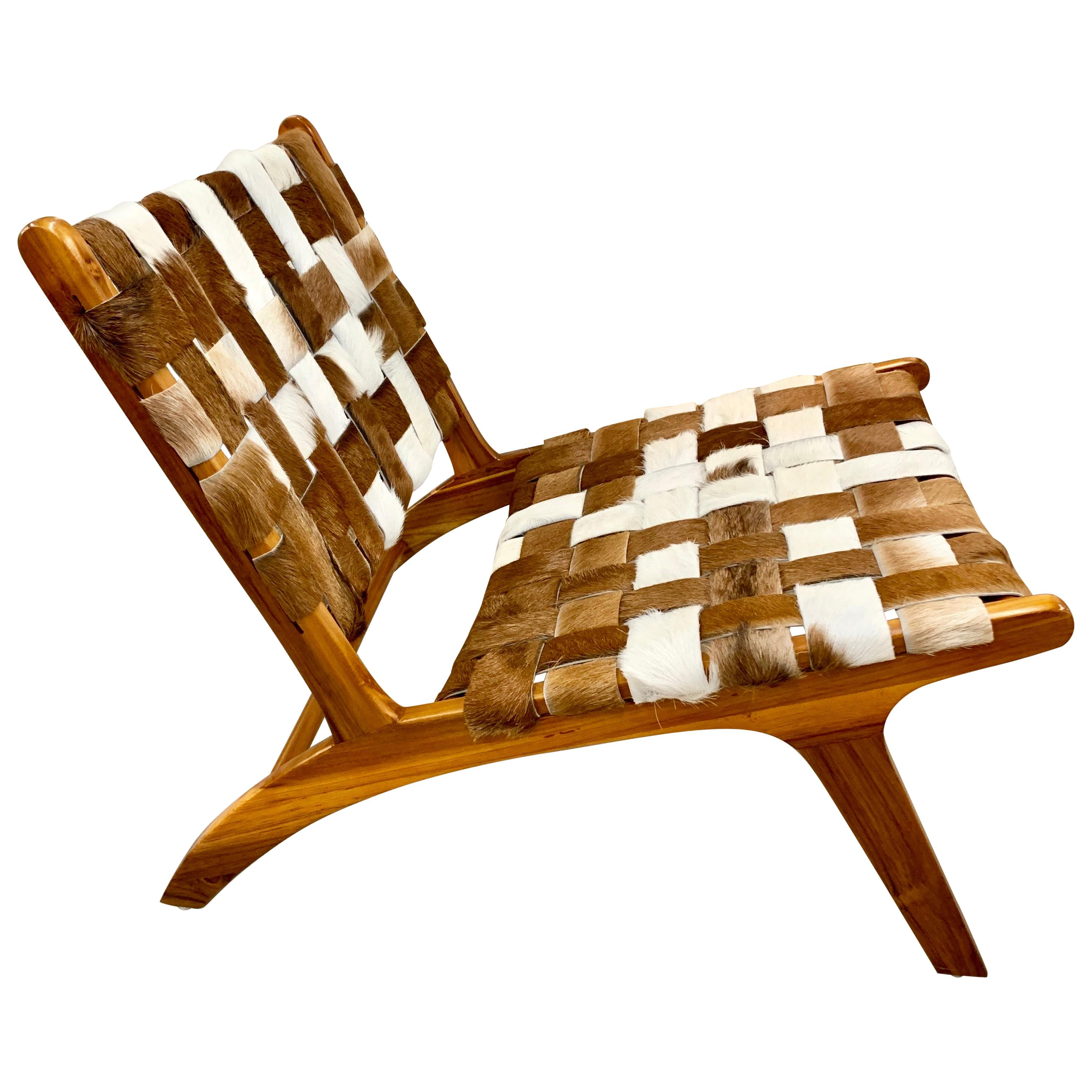 Mid-Century Modern Style Cowhide Lounge Chair
