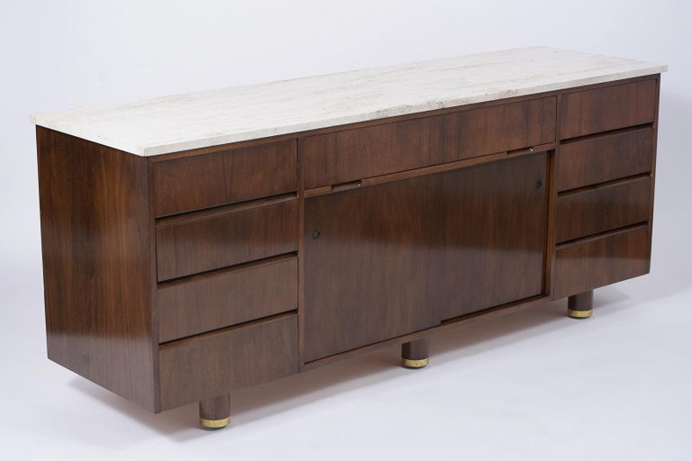 Carved Mid-Century Modern Style Credenza