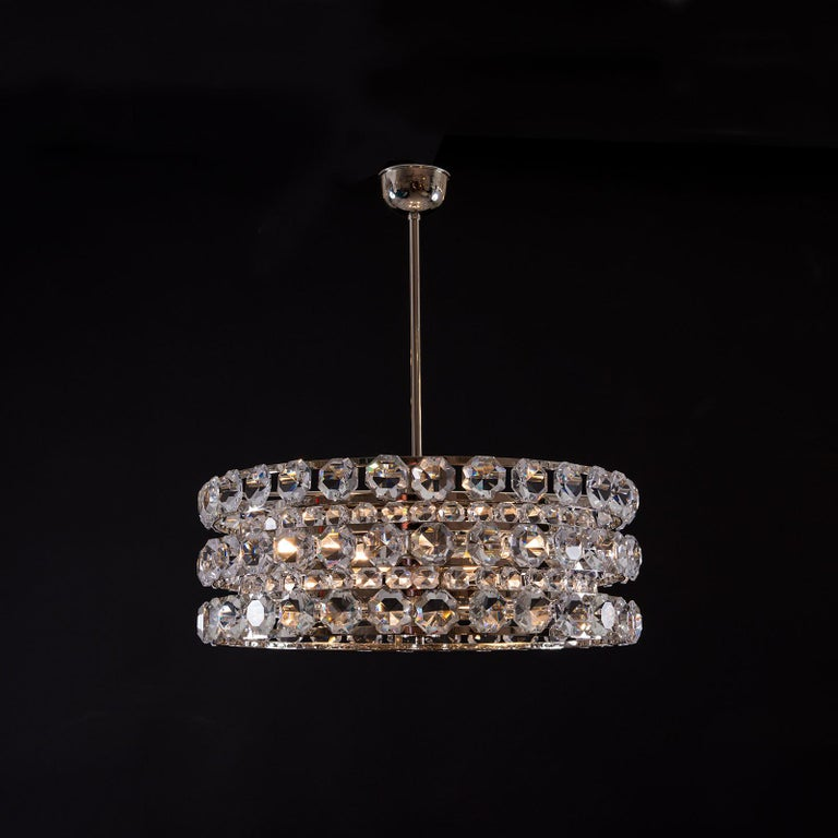 Hand-Crafted Mid-Century Modern Style Crystal Chandelier, Re Edition For Sale