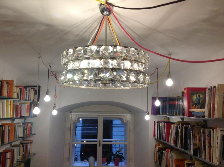 Contemporary Mid-Century Modern Style Crystal Chandelier, Re Edition For Sale