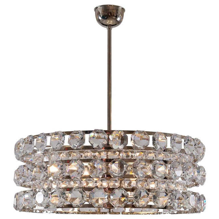 Mid-Century Modern Style Crystal Chandelier, Re Edition For Sale