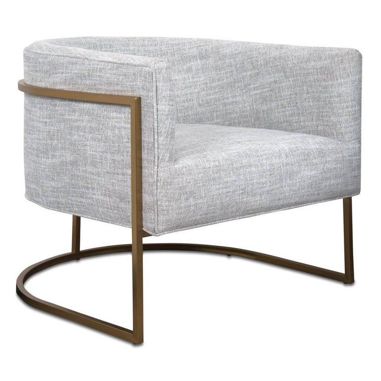 American Mid-Century Modern Style Curved Accent Chair in Grey Linen & Brushed Brass Frame For Sale
