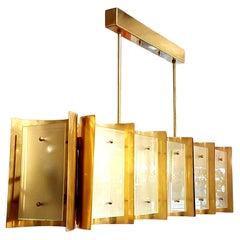 Mid-Century Modern Style Custom Made Brass & Frosted Glass Chandelier, D'Lightus