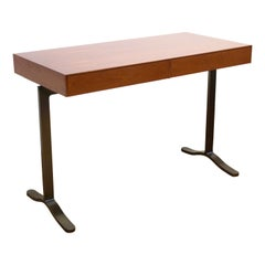 Mid-Century Modern Style Desk with Bronze Legs