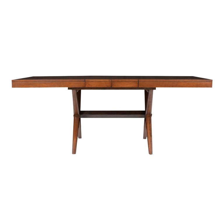 American Mid-Century Modern Lacquered Walnut Dining Table For Sale
