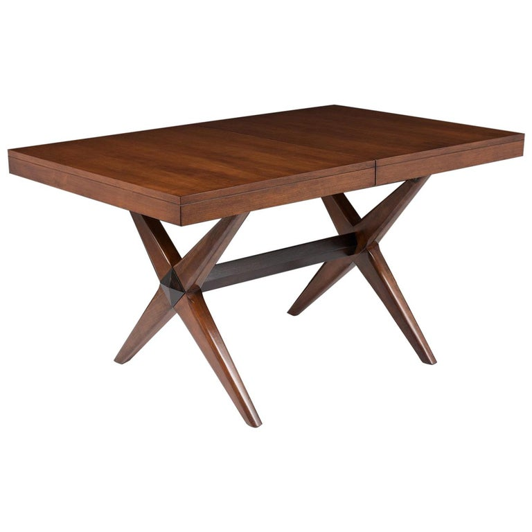 Mid-Century Modern Lacquered Walnut Dining Table For Sale
