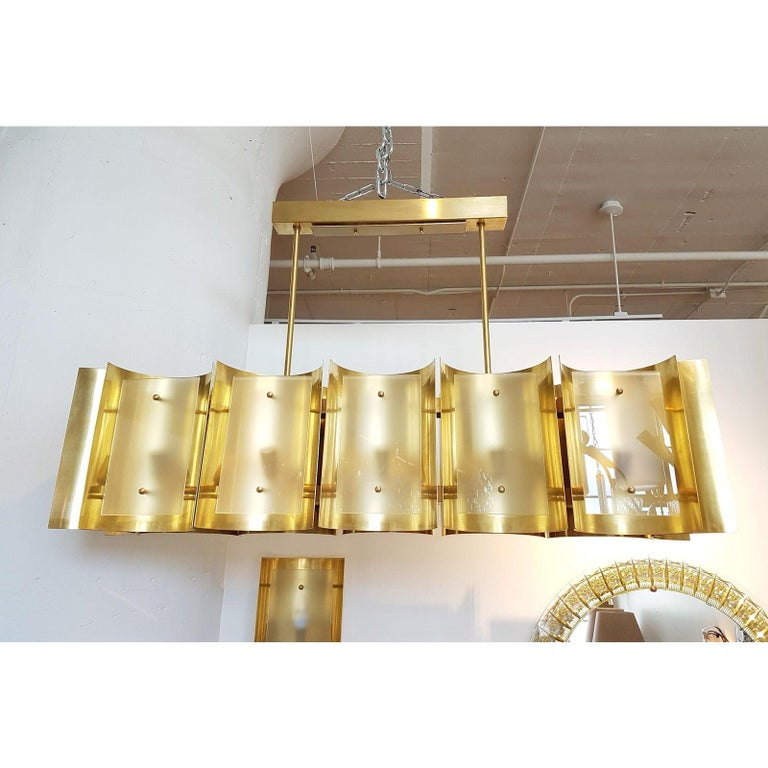 Italian Mid-Century Modern Style Dlightus Bespoke Nickel and Frosted Glass Chandelier For Sale