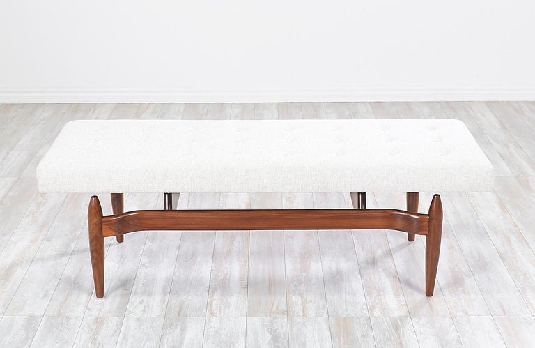 American Mid-Century Modern Style Floating Tufted Bench For Sale